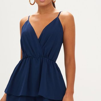 Navy Frill Layer Playsuit
