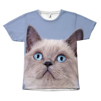 Blue Eyed Curious Cat Face T-Shirt