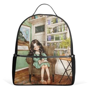 QOKR women rucksacks printing canvas school bags bags laptop backpacks sleeping girl bolsa feminina travel bookbags brand new