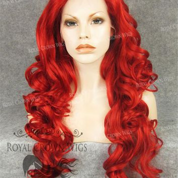 "26 inch Heat Safe Synthetic Lace Front in Curly Texture ""Calypso"" in Red"