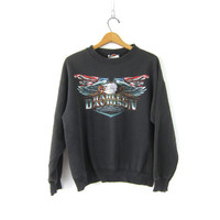 Vintage black biker sweatshirt authentic Harley Davidson Motorcycle Clinton Iowa Bald Eagle sweater Indie Girl Size Large
