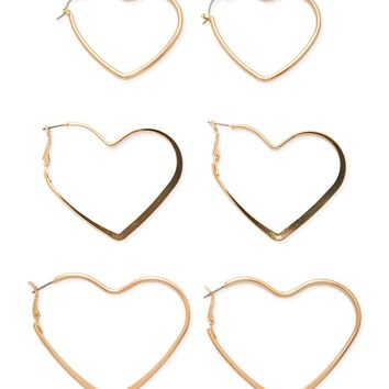 Heart Hoop Earrings Set