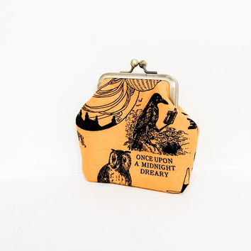 Coin Purse, Metal Frame Coin Purse, Small Purse, Lucky Cats Snap Pouch, Kisslock Pouch, Pouch, Fabric Pouch, Small Pouch, Halloween Motifs
