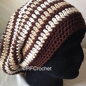 XL Men's Beanie | Brown Stripe | Men's Hat | Adult Slouchy Beanie | Men's Slouchy Beanie
