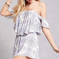 Off-the-Shoulder Mosaic Romper