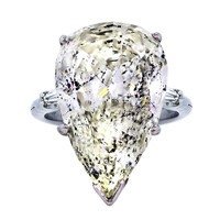 14.33 carat Pear Shaped Diamond Platinum and Gold Engagement Ring