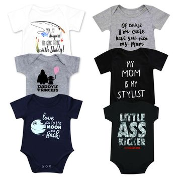 Newborn Baby Clothes Toddler Infants Baby Bodysuit Funny auntie uncle white short sleeve Tiny cottons Baby girl boys Baby Onesuit