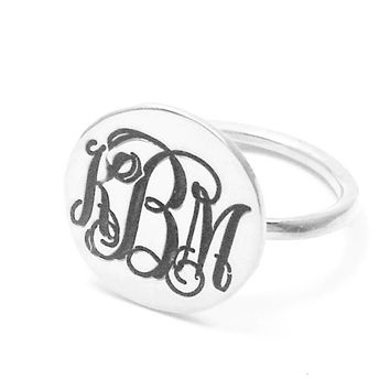Sterling Silver Disk Ring,Nameplate Monogram Initial Ring,Personalized 3 Monogram Initial Ring,Womens Monogram Ring,Blackend Ring
