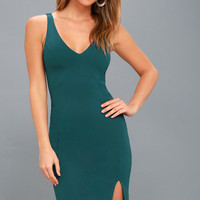 Iconic Moment Teal Blue Bodycon Midi Dress
