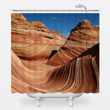 The Sandstone Wave Shower Curtain