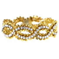 1960s Boucheron Diamond Gold Platinum Bracelet