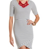 Striped Asymmetrical Bodycon Dress by Charlotte Russe