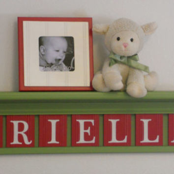 """Green and Red Baby Girl Nursery Wall Decor - Custom Name Sign - BRIELLA on 30"""" Light Green Shelf - 7 Wooden Letter in Red"""