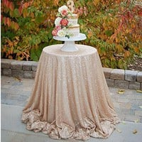 80cm/120cm Sequin Tablecloth Round Designed Gold Silver Champagne Table Cover for Wedding Party Festival Table Cloth Decoration