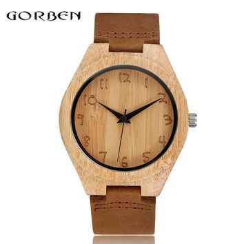 GORBEN Brand Fashion Sculpture Bamboo Analog Quartz Wooden Mens Watches Hot Sale Women Wooden Dial Leather Wristwatches Gifts