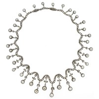 1850s French Old European Cut Diamonds Silver Gold Necklace