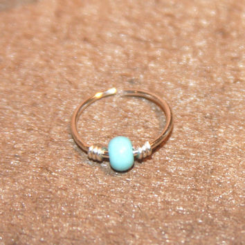 Thick 16 Gauge Cartilage Earrings, Turquoise Beaded Nose Ring, Nose Hoop, Ear Cuff, Helix Hoop, Nose Rings, Seamless Hoop, Piercing Jewelry