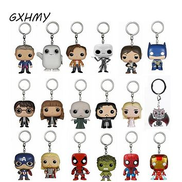 Elsadou Game of Thrones Action Figure Toy Suicide Squad Harley Quinn Joker Harry Potter Series Guardians of the Galaxy Keychain