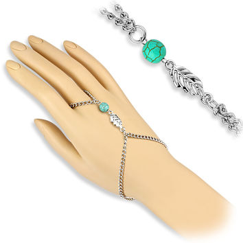 Turquoise Bead and Leaf Charms Slave Chain Bracelets