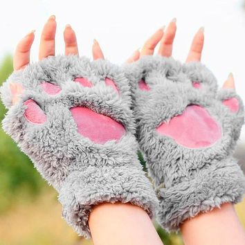 Winter Warmth Fingerless Plush Gloves Fluffy Bearr Claw /Cat Animal Paw Soft Warm Lovely Cute Women Half Finger Covered Gloves