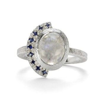 Sapphire and rainbow moonstone sterling silver ring. *free shipping*
