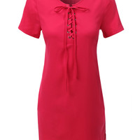 LE3NO Womens Short Sleeve Lace Up Front Tunic Dress (CLEARANCE)