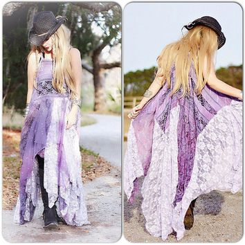 Festival Boho Maxi dress, love lemons Dress, Bohemian Lace Sundress, Stevie Nicks Style, Gypsy Dress Patchwork Hippie True Rebel Clothing XL