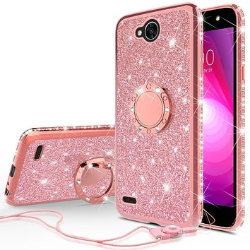 LG X Power 2 Case, LG X Charge, LG Fiesta 2, Fiesta, LG K10 Power Case, Glitter Cute Phone Case Girls with Kickstand,Bling Diamond Rhinestone Bumper Ring Stand Sparkly Luxury Clear Thin Soft Protective LG X Power 2 Case for Girl Women - Rose Gold