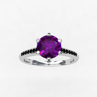 Amethyst ring, White gold, black Diamond, engagement ring, purple, solitaire, gold engagement, black engagement