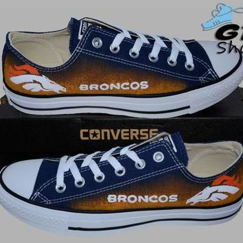 Hand Painted Converse Low. Denver Broncos. Football. Colorado. Superbowl. Handpainted