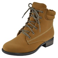 Womens Lace Up Booties Padded Hiking Ankle Boots Casual Comfort Shoes Tan Size 5.5-10