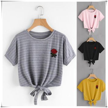 Fashion Short Sleeve Tee Shirt Rose Embroidered T- Shirt Blouse Sweatshirt Pullover