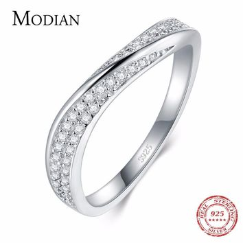 Modian Solid 925 Sterling Silver Irregular New Fashion Stackable Finger Ring Clear CZ Wedding Jewelry For Women Luxury Gift Anel