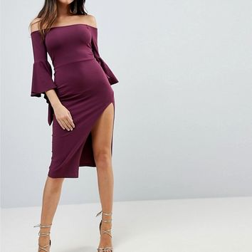 ASOS Drama Sleeve Bardot Midi Dress at asos.com