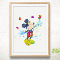 Mickey Mouse, Disney - Watercolor, Art Print, Home Wall decor, Watercolor Print, Disenyland Poster