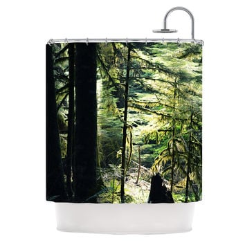 "Robin Dickinson ""Enchanted Forest"" Green Shower Curtain"
