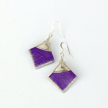 Wirewrapped square purple earrings with painted silver edge.