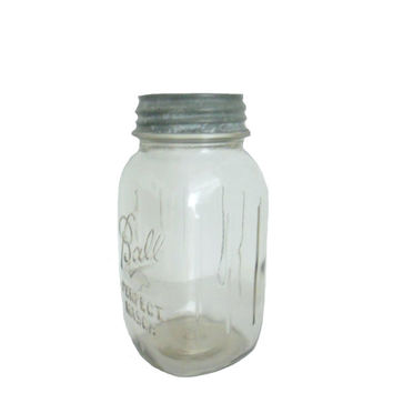 Vintage Ball Jar Mason with Original Zinc Lid - Clear Glass - One Quart Capacity Size - Grippers on the Sides
