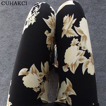 2017 New Floral patterned Printed Leggings Fashion Sexy Women Lady Slim Cotton Pants B