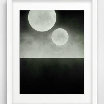SALE Black and White Large Wall Art, Two Moons, Geek Art, Science Fiction, Surrealist, Space Art