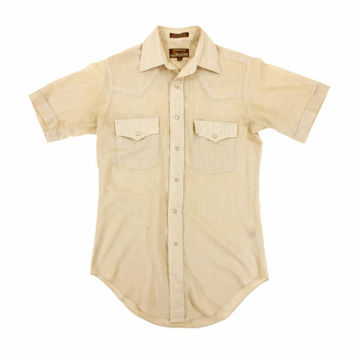 Vintage Tan Western Shirt - Button Down Short Sleeve Beige 80s Country Pearl - Men's Size 14-14.5 Small Sm S