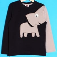 smilekids | Cute Elephant Trunk Sleeve Sweater Jumper Tee in Navy - For 2 to 10 years | Online Store Powered by Storenvy