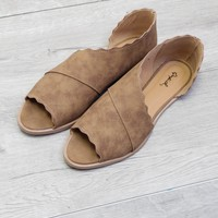 Tan Scallop Peep Toe Flat