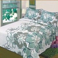 Fancy Collection 3 Pc Bedspread Bed Cover White Grey Green Floral (King)