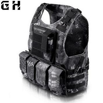Outdoors Hunt Accessories Camouflage Vest Amphibious Multi Pockets Military Tactical Airsoft Molle Plate Carrier