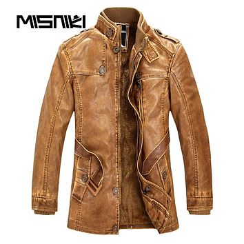 High Quality Autumn Winter Leather Jacket Men Casual Slim Warm Motorcycle Jacket Men