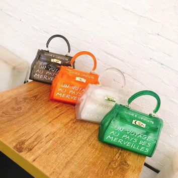 Women's candy color letter printing transparent bag  jelly bag girl's crossbody casual tote travel beach messenger mini purse