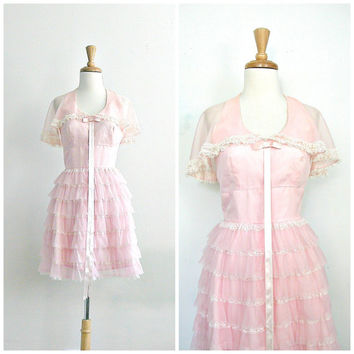 Vintage 70s Party Dress / 1970s dress / pink ruffle dress / halter dress / tiered dress / short wedding dress / babydoll /  xs small