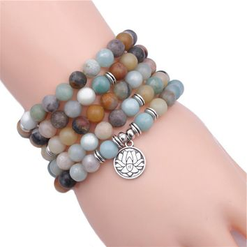 Natural Stone Mala Beads with Lotus Charm - 2 Color Options