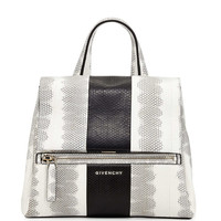 Pandora Small Watersnake Satchel Bag, White/Black - Givenchy